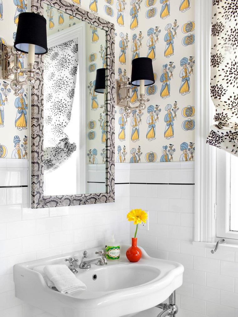 baños pequeños modernos diseno papel pared espejo precioso ideas