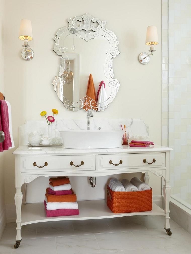baños pequeños modernos lavabo madera blanca precioso espejo lujo ideas