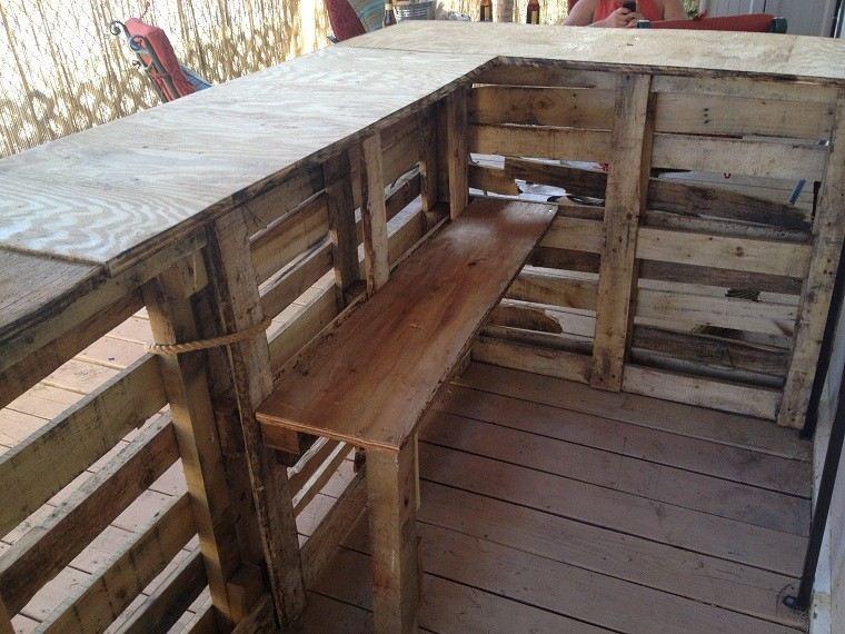 Ideas con palets 75 creaciones para personalizar tu espacio for Barras de madera bar