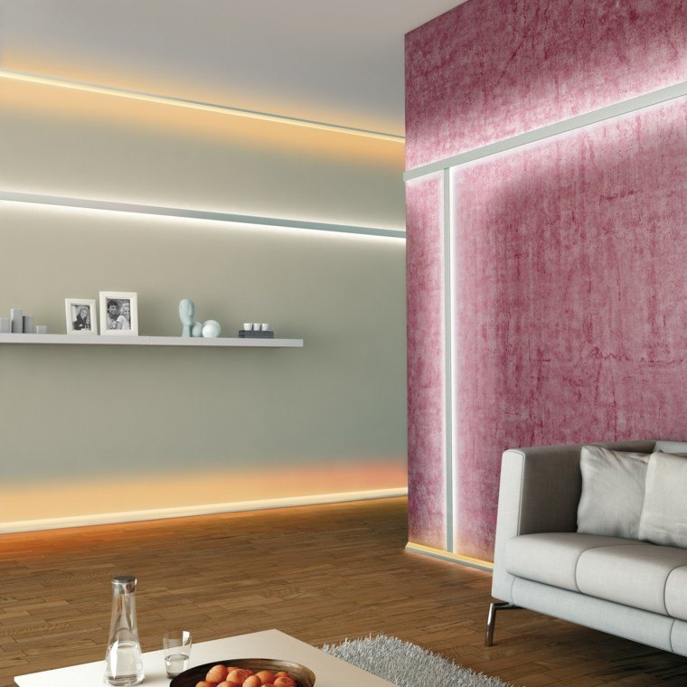 Iluminacion indirecta led salon y salas de estar for Luces de pared interior