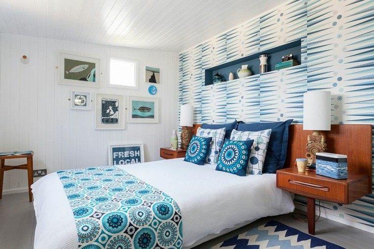 belleza blanco azul papel pared dormitorio escandinavo moderno