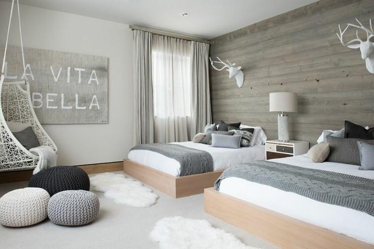 belleza color gris dormitorio diseno escandinavo moderno
