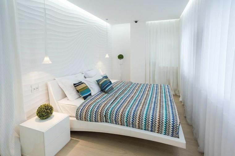 belleza cortinas blancas dormitorio diseno escandinavo moderno