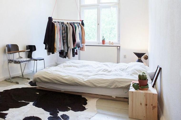 belleza dormitorio diseno escandinavo alfombra cama moderno