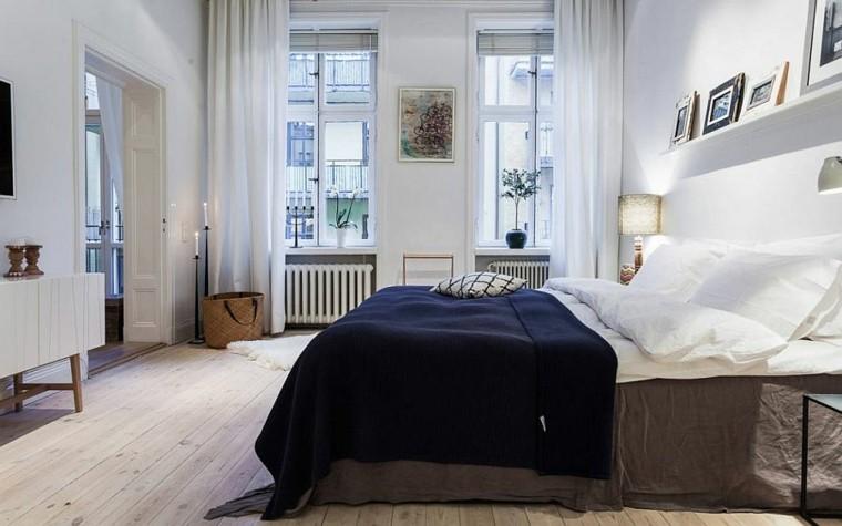 belleza elegancia ropa cama azul dormitorio diseno escandinavo moderno
