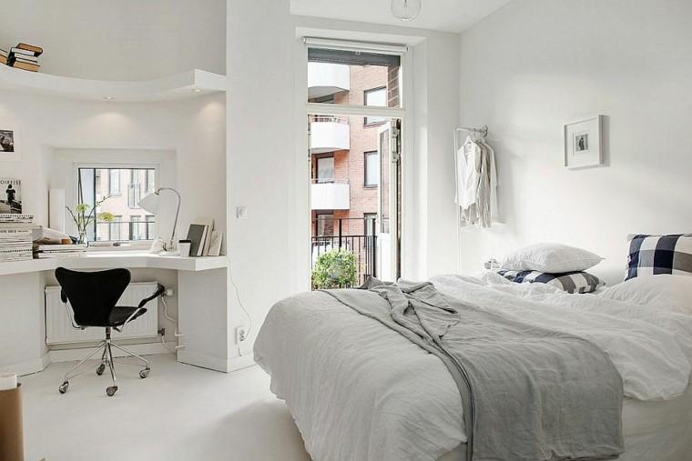 belleza escritorio cama dormitorio diseno escandinavo moderno