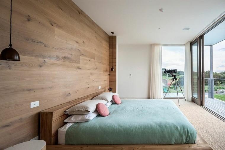 belleza pared madera ventanales dormitorio diseno escandinavo moderno