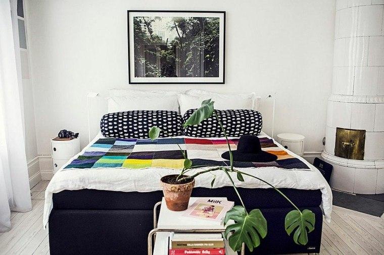 belleza ropa cama colores cuadro pared blanca moderno