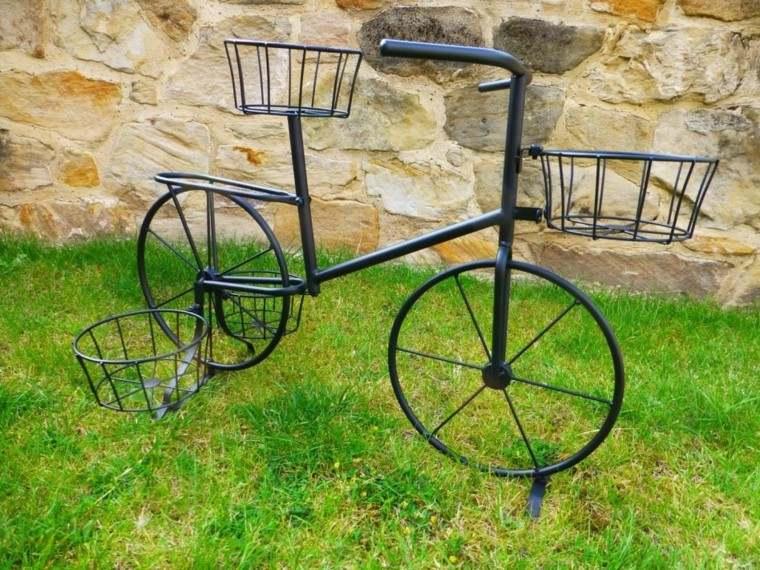 bici metal negro jardinera deco