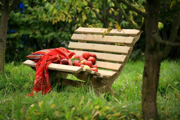 bionito banco madera manzanas rojas