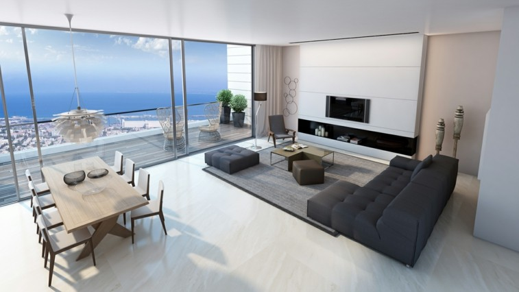 decorar salas blanco negro bonitas vistas