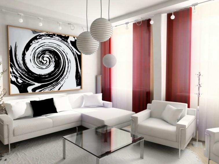blanco negro cortinas rojas cuadro