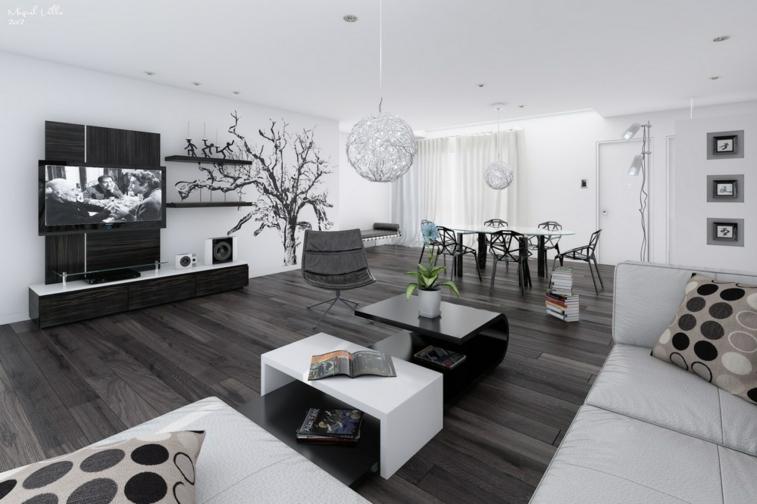 diseño blanco negro gris sala