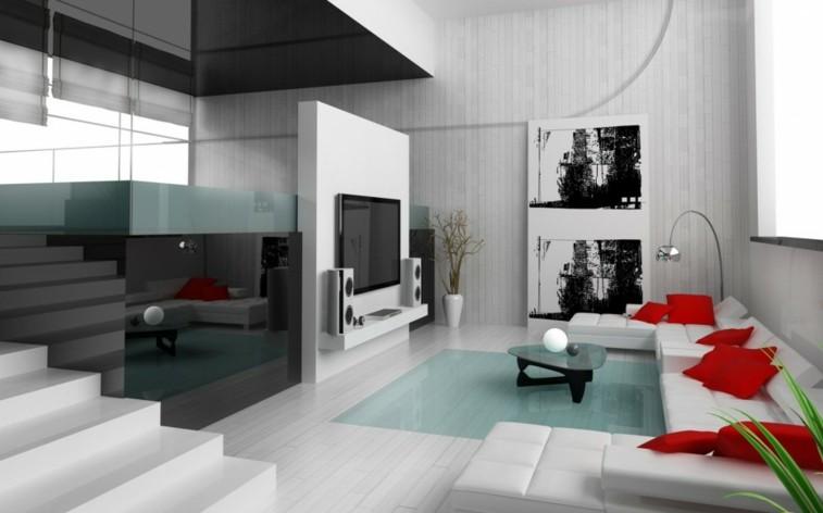salón blanco negro rojo sala