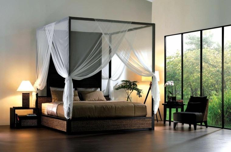 bonita cama cuadrada dosel cortinas