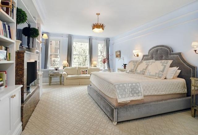bonita cama estilo retro celeste