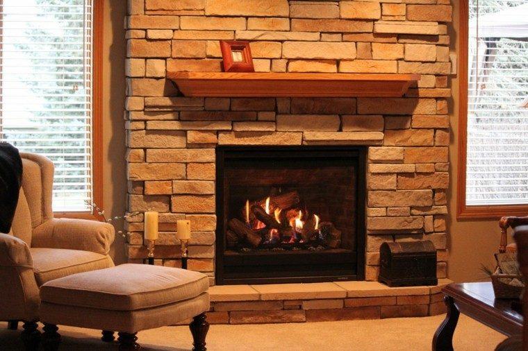 Piedra y madera para los revestimientos de paredes - Imagenes chimeneas rusticas ...