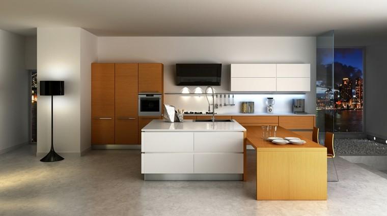 Blanco y madera cincuenta ideas para decorar tu cocina - Muebles de cocina color wengue ...