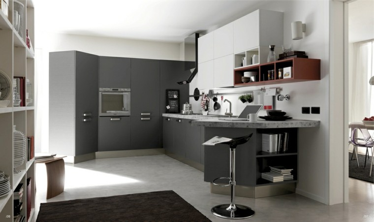 bonita cocina muebles modernos gris