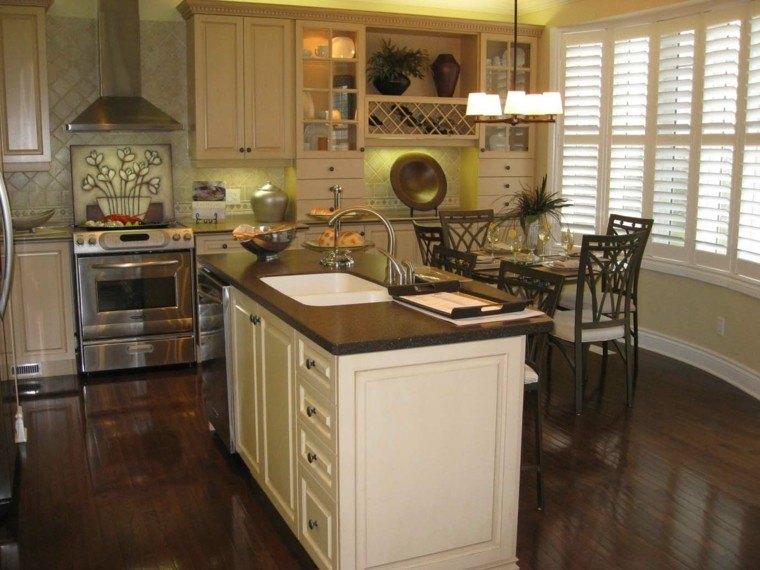 Blanco y madera cincuenta ideas para decorar tu cocina - Suelo madera cocina ...