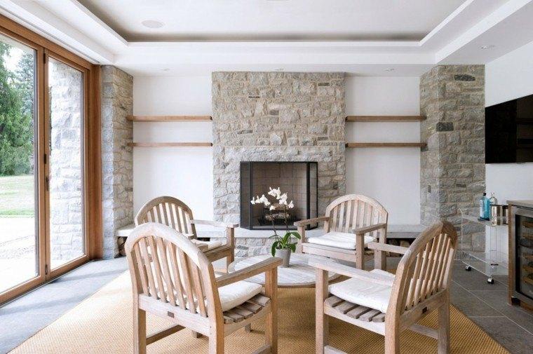 Piedra y madera para los revestimientos de paredes
