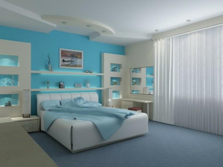 diseño dormitorio pared celeste