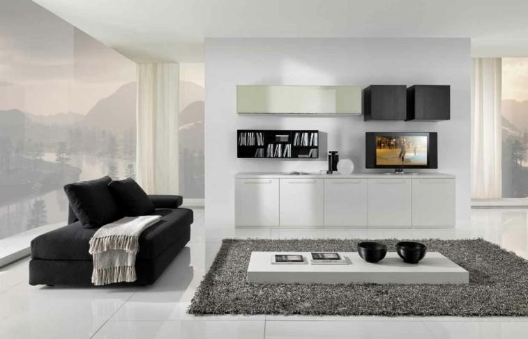 bonito salon blanco sofa negro