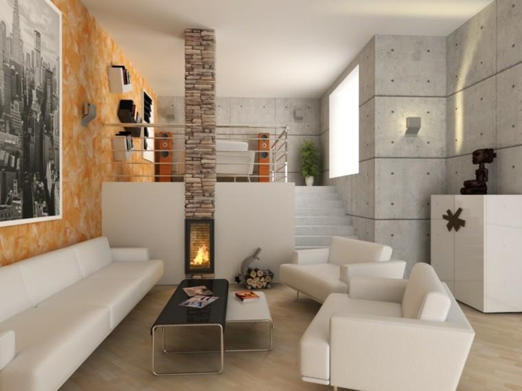 bonito salon nivelado moderno chimenea