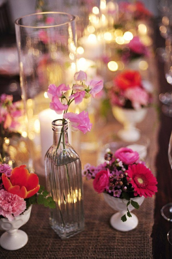 botella cristal jarron flores colores