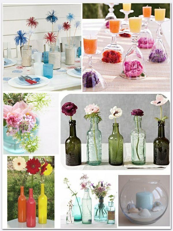 botellas cristal decoradas mesa varias