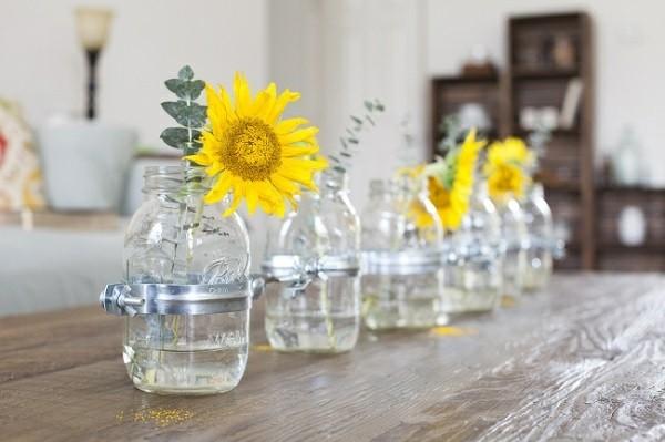 botes cristal flor girasol amarillo