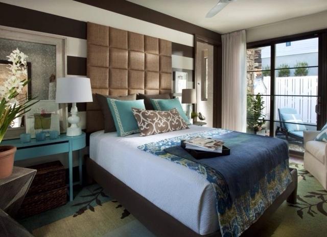cabecero marron acolchado cama grande