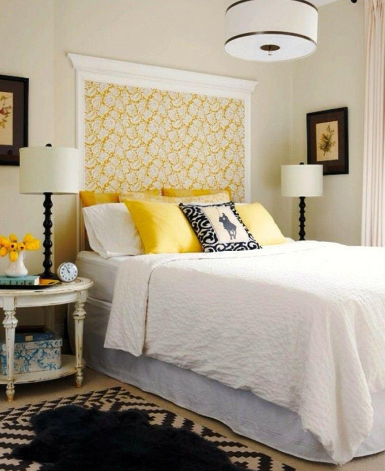 cabecero cama diseno femenino dormitorio amarillo ideas