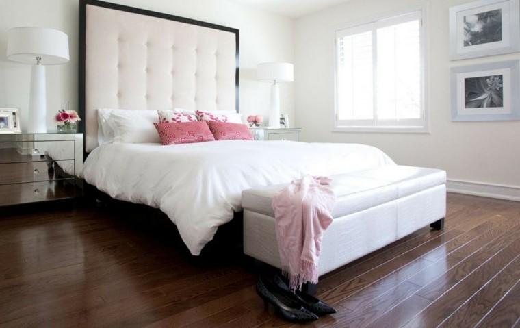 cabecero cama dormitorio ropa cama blanca ideas