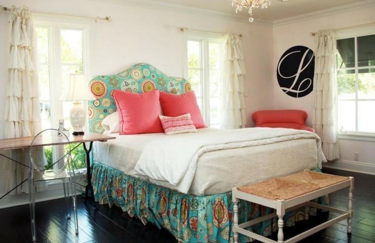 cabecero cama dormitorio suelo madera escritorio ideas