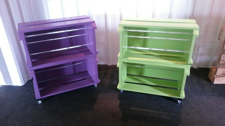 decoración con palets cajones verde purpura hechos ideas