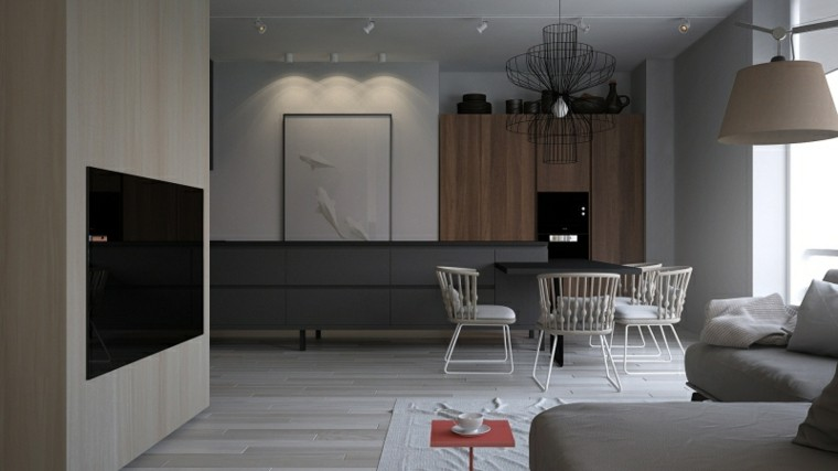 muebles salon moderno abierto comedor sillas blancas ideas