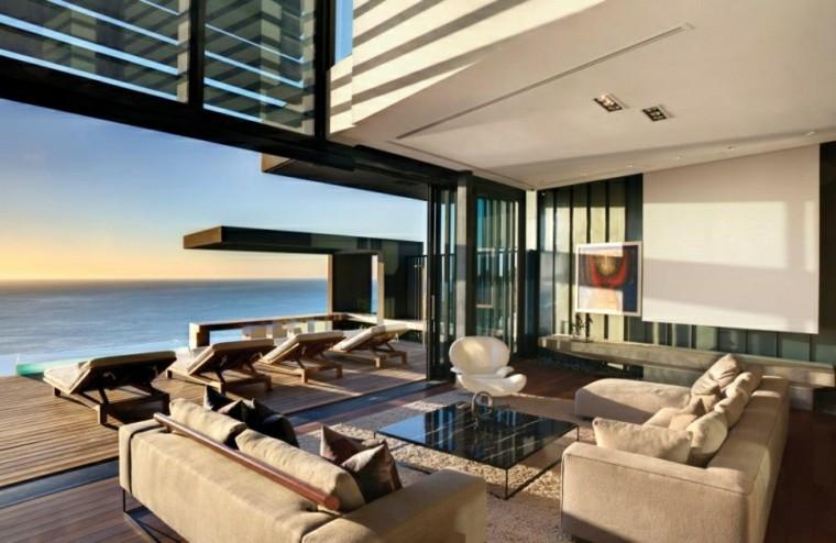 muebles salon moderno abierto terraza ideas