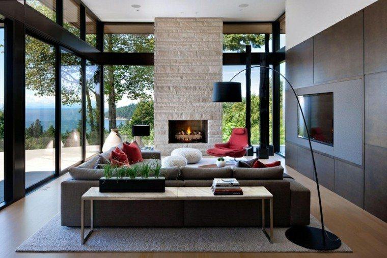 muebles salon moderno chimenea butaca roja ideas