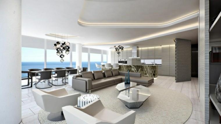 muebles salon moderno mesas acero pulido ideas