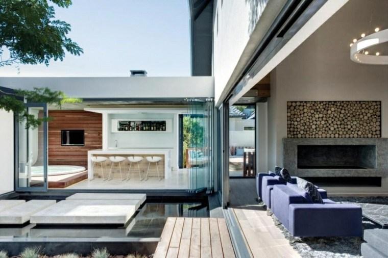 muebles salon moderno sillones azules ideas