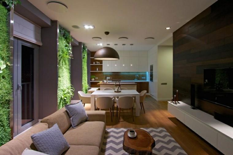 calidad salon estrecho toques verde jardin ideas