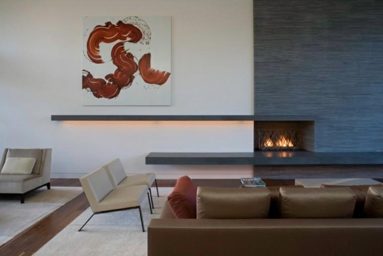 calidad salon moderno sofa cuero marron cuadro ideas