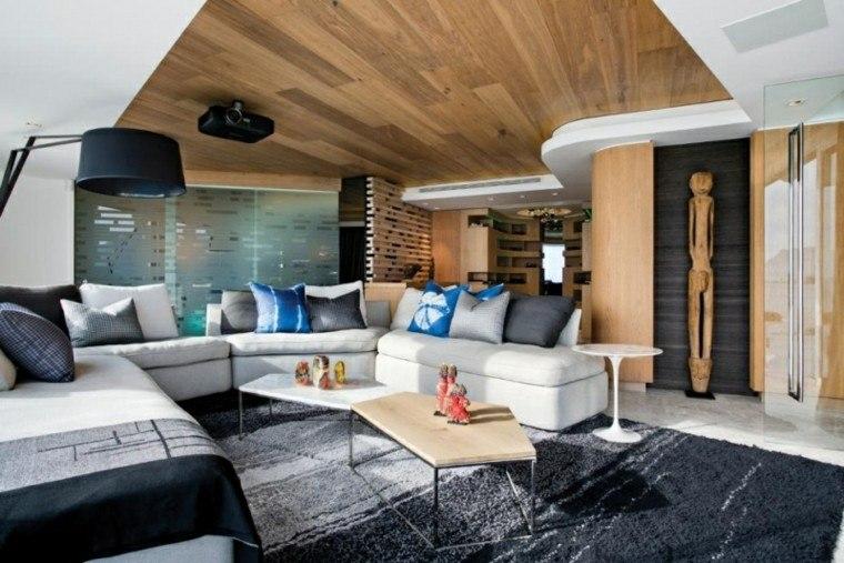 calidad salon techo madera sofa blanca ideas