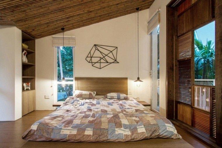 cama baja madera calidez habitacion