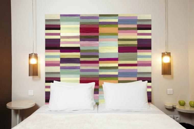 cama cabecero colores vibrantes etilo contemporaneo dormitorio ideas