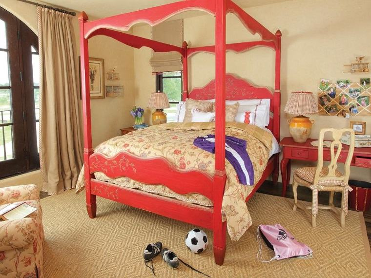 cama dosel color rojo madera dormitorios juveniles ideas