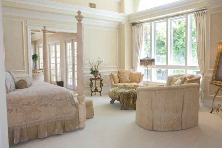 cama dosel sofas colores crema estilo moderno ideas