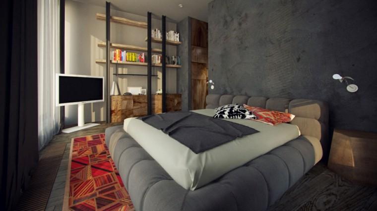 cama color gris acolchada moderna