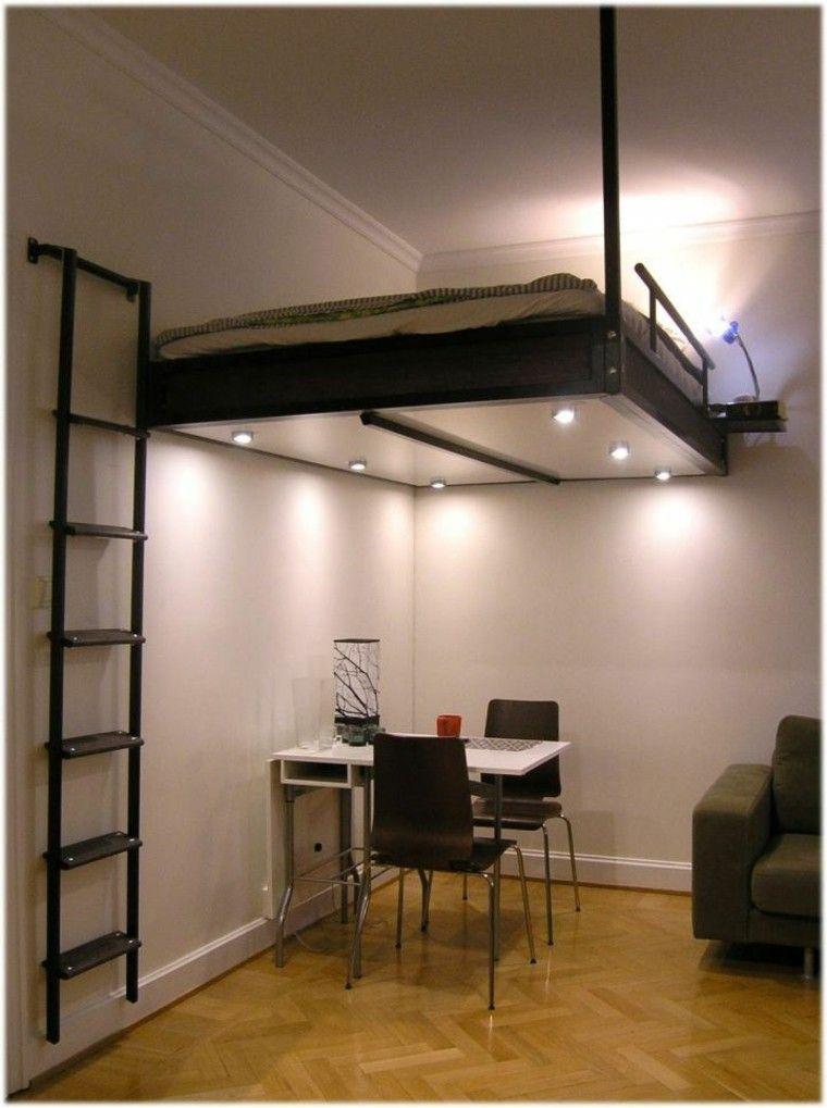 cama luces led escalera techo metal